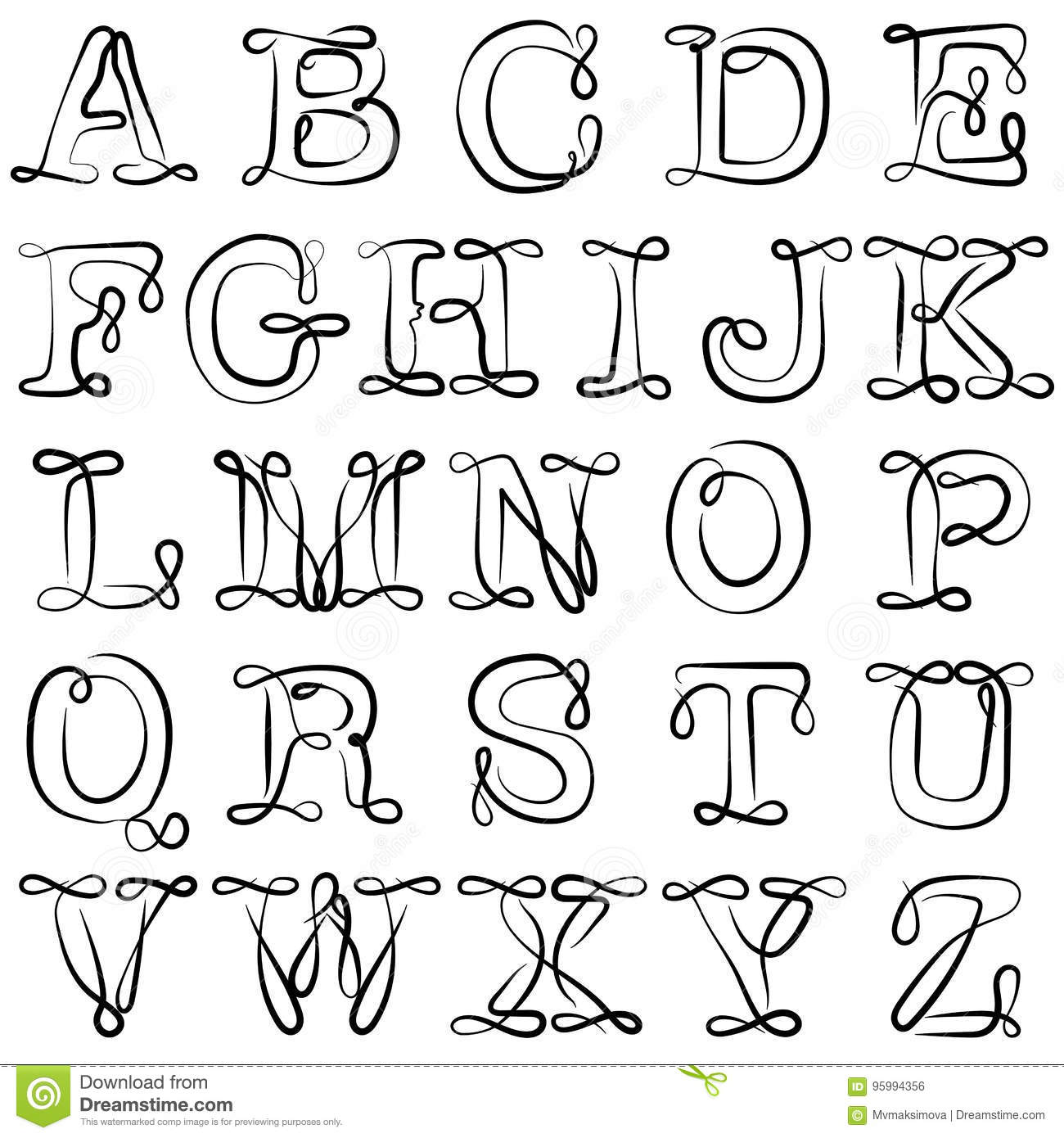 Alphabet Pictures For Each Letter Black And White.English Alphabet Abc English Letters Are Black On White