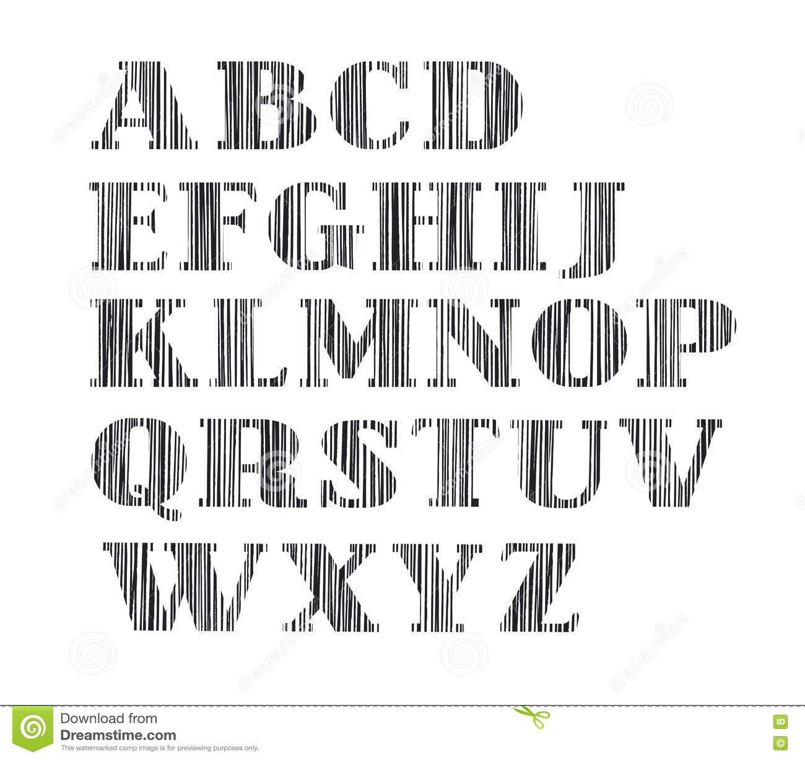 English Alphabet Capital Letter Vertical Shading Pencil
