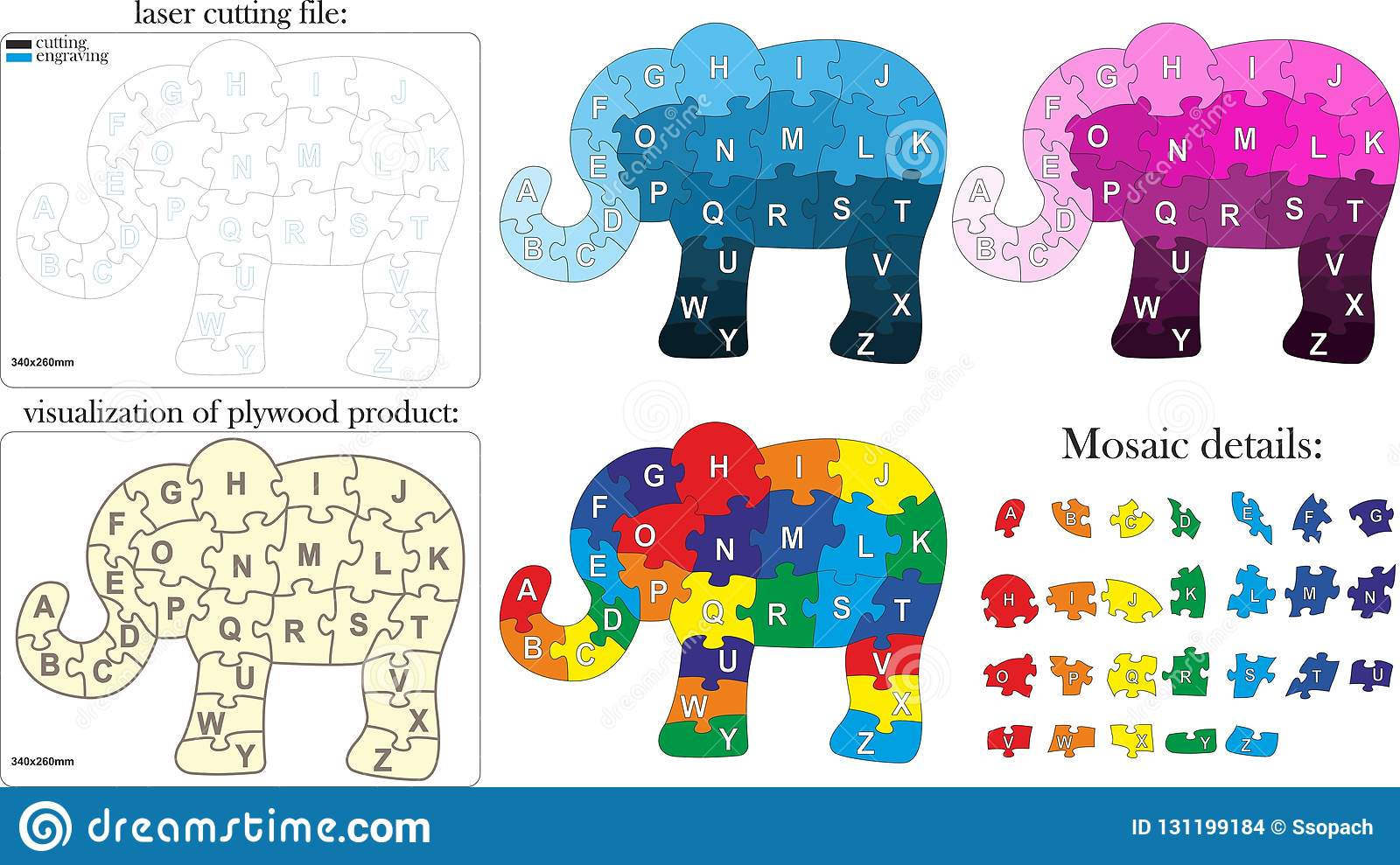 English alphabet for children. Mosaic in the form of an elephant