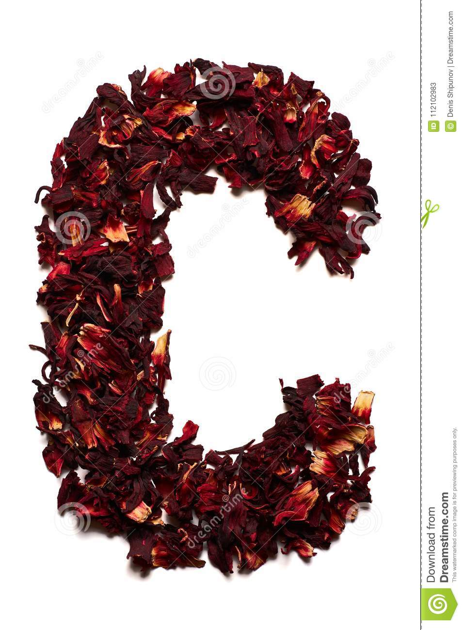 English alphabet letter c from dried flowers of hibiscus tea on a letter c from dried flowers of hibiscus tea on a white background izmirmasajfo
