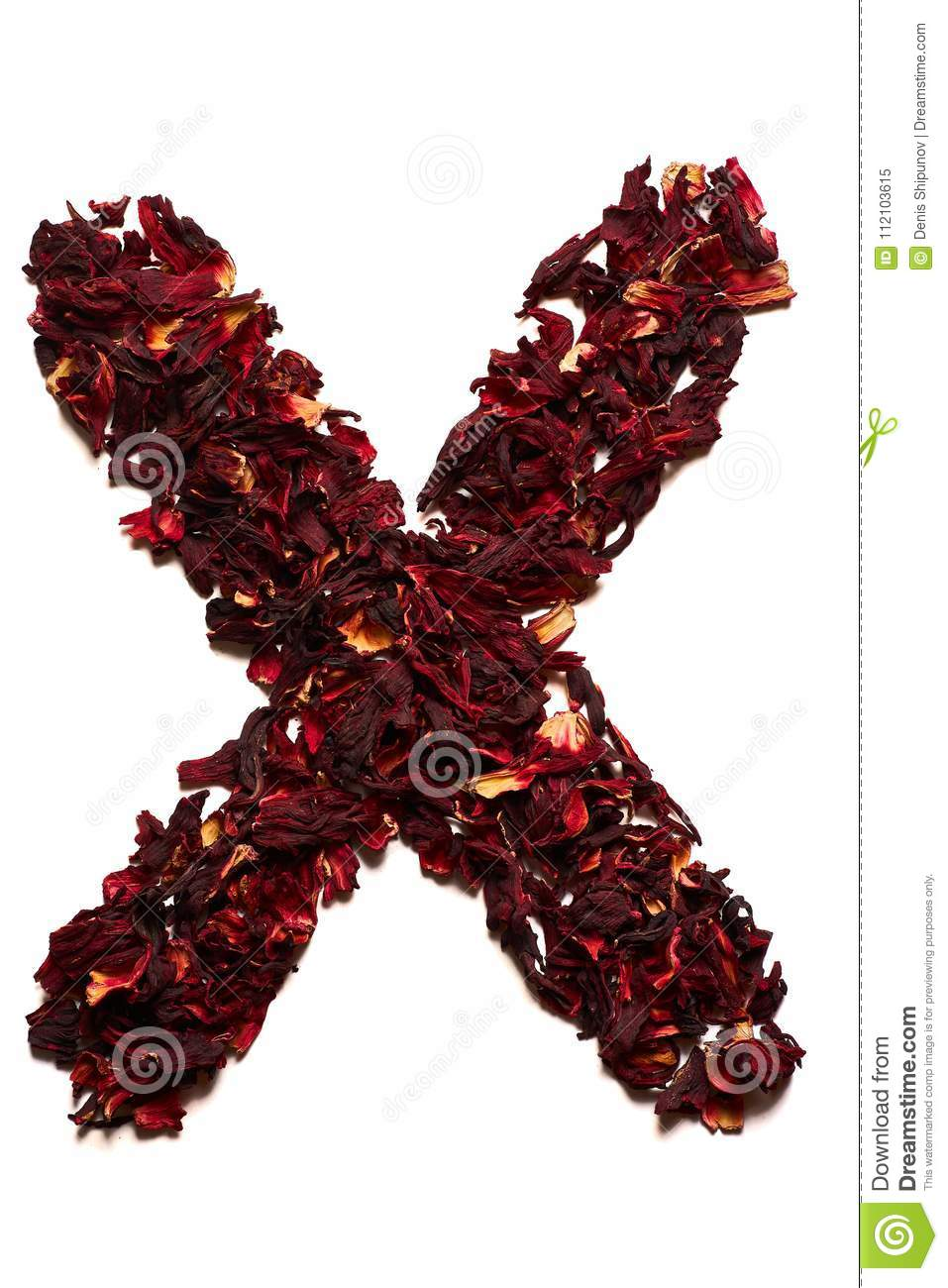 English alphabet letter x from dried flowers of hibiscus tea on a letter x from dried flowers of hibiscus tea on a white background izmirmasajfo