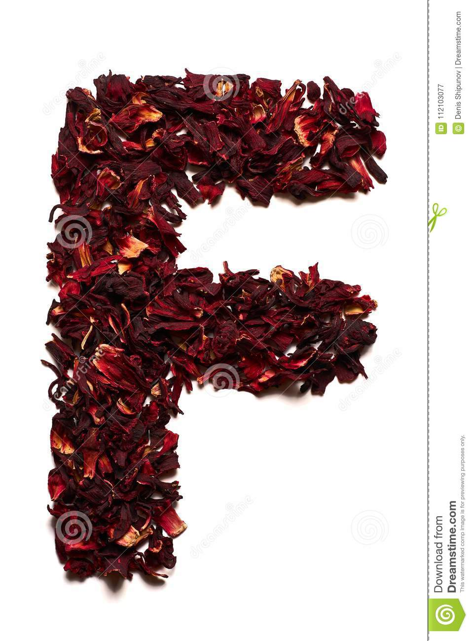 English alphabet letter f from dried flowers of hibiscus tea on a letter f from dried flowers of hibiscus tea on a white background izmirmasajfo