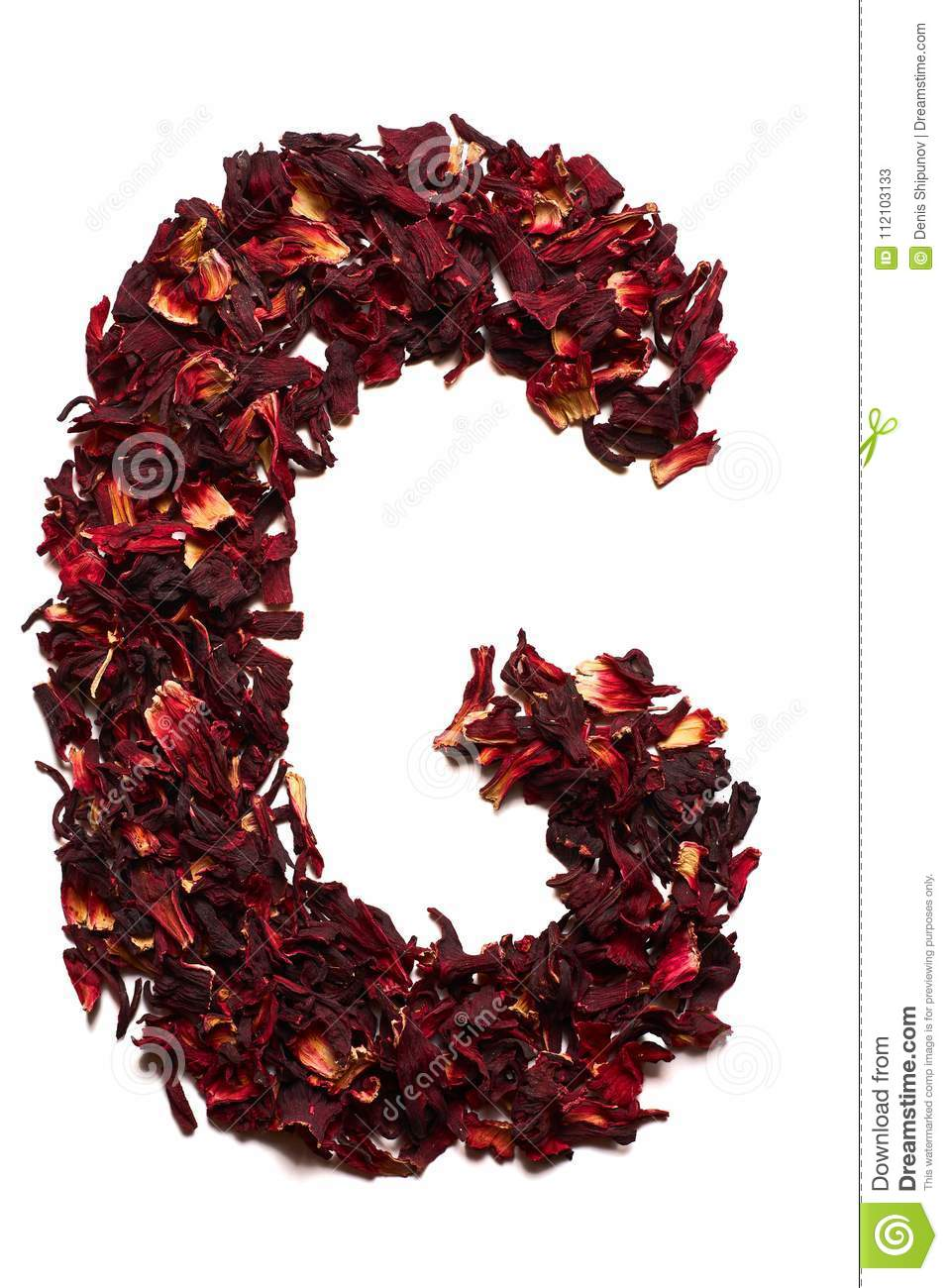 English alphabet letter g from dried flowers of hibiscus tea on a letter g from dried flowers of hibiscus tea on a white background izmirmasajfo