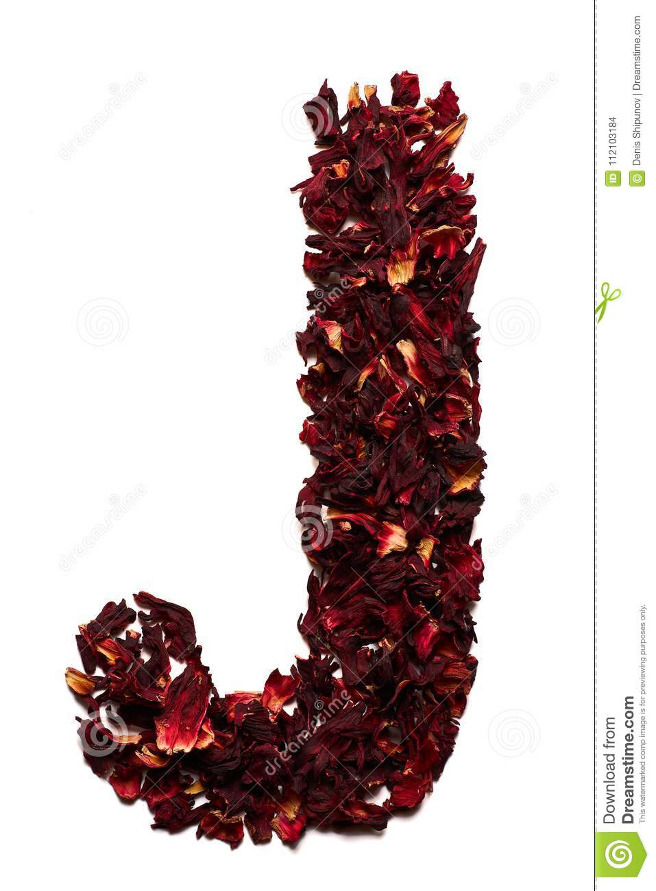 English alphabet letter j from dried flowers of hibiscus tea on a letter j from dried flowers of hibiscus tea on a white background izmirmasajfo