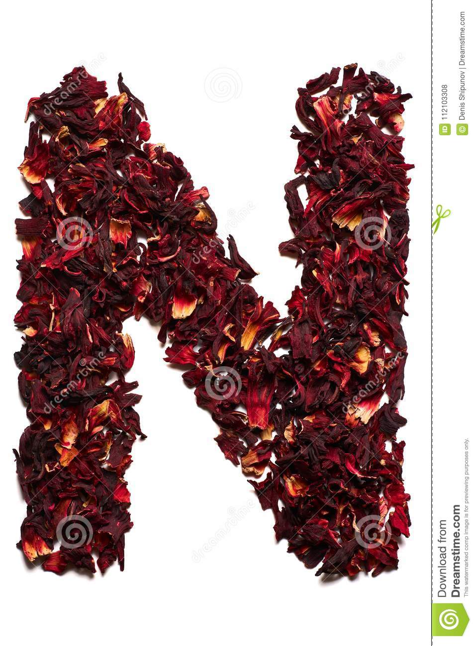 English alphabet letter n from dried flowers of hibiscus tea on a letter n from dried flowers of hibiscus tea on a white background izmirmasajfo