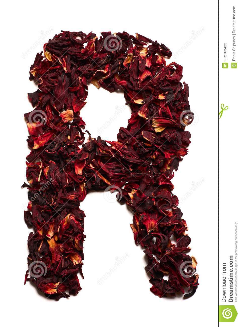 English alphabet letter r from dried flowers of hibiscus tea on a letter r from dried flowers of hibiscus tea on a white background izmirmasajfo
