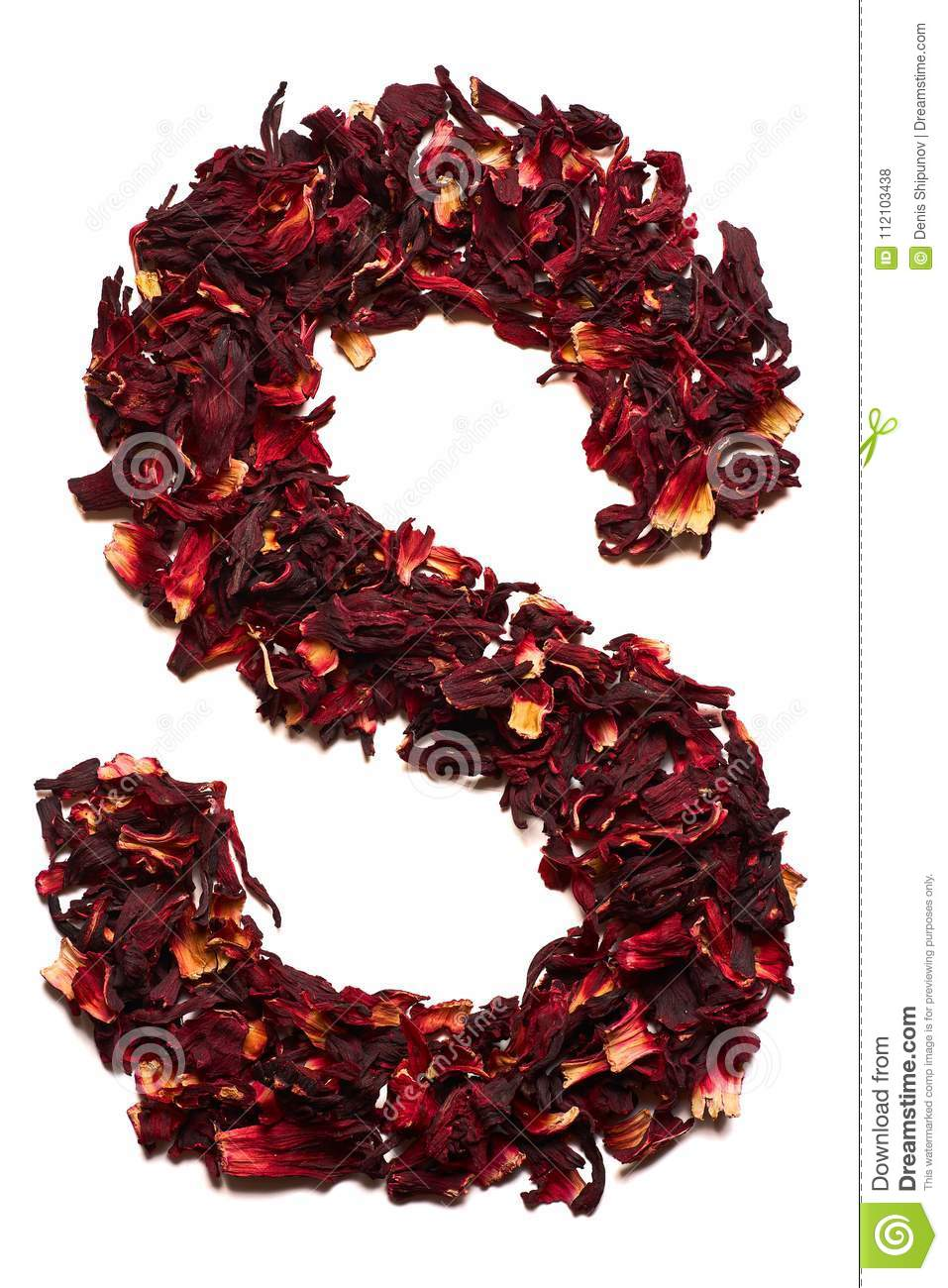 English alphabet letter s from dried flowers of hibiscus tea on a letter s from dried flowers of hibiscus tea on a white background izmirmasajfo