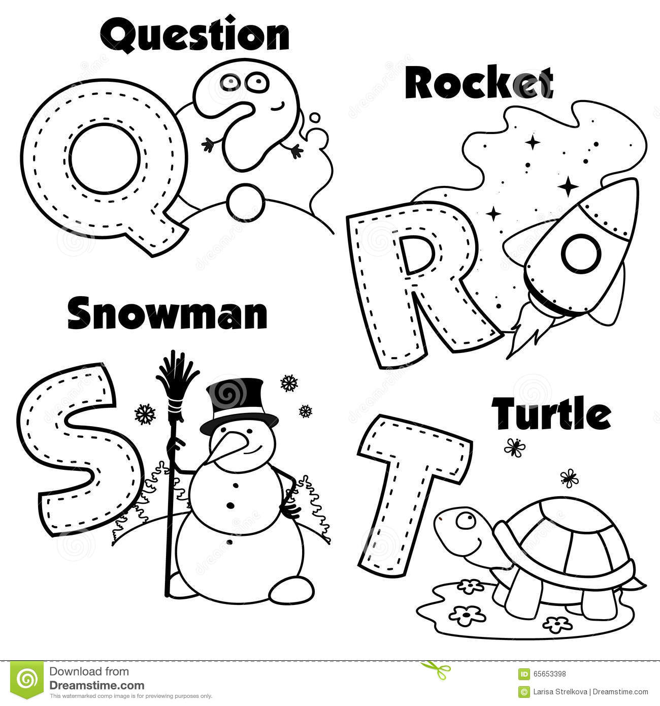 English Alphabet Coloring Pages : English alphabet and the letters q r s t stock