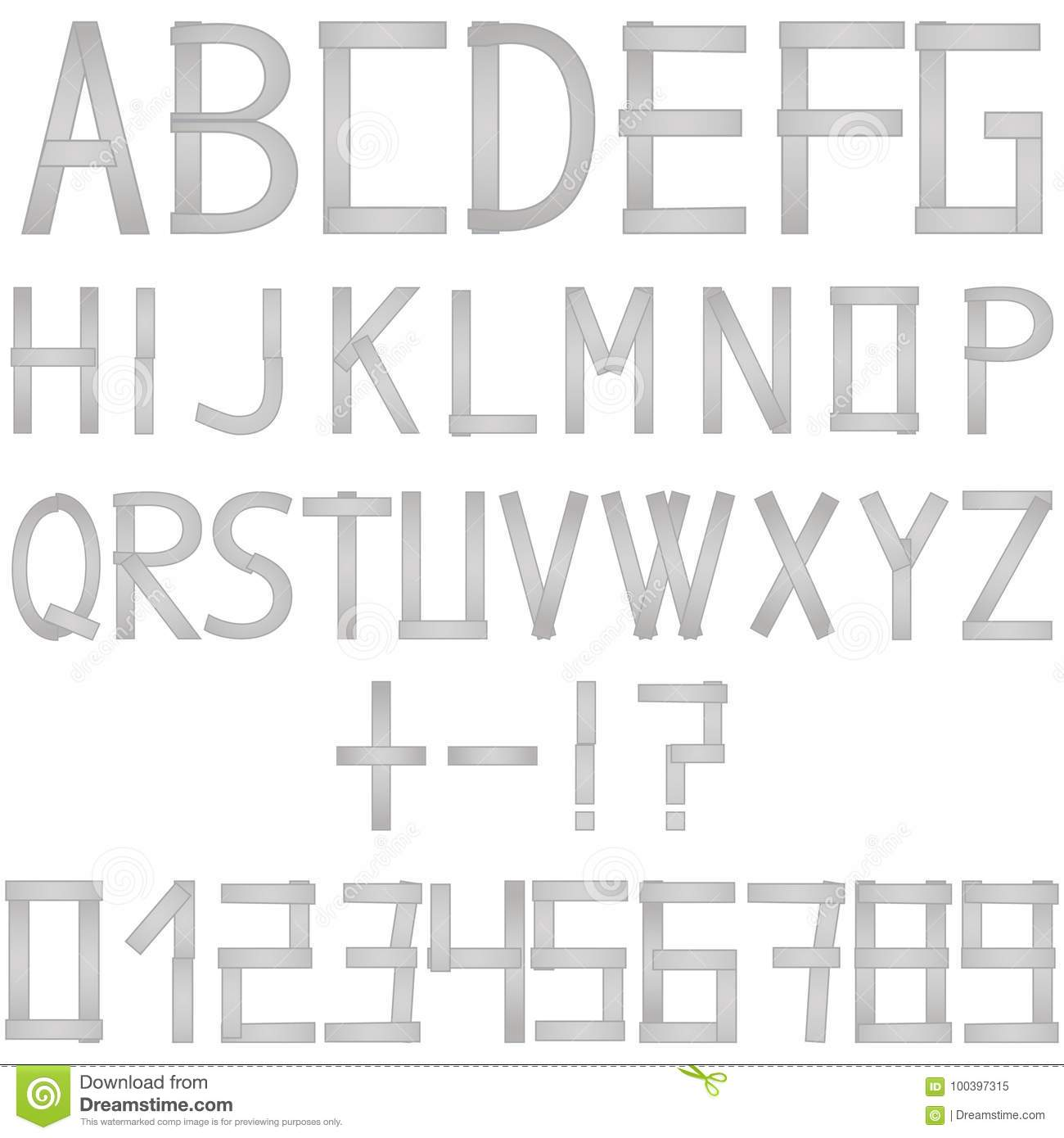 Full Vector Set Of Metal Silver Alphabet Letters Numbers And