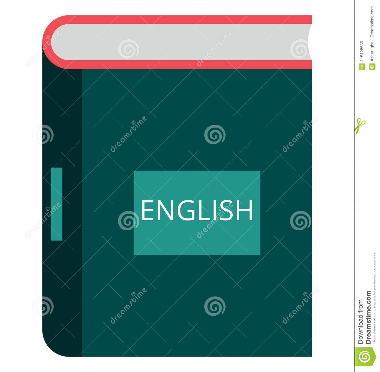 English Book Isolated Color Vector Icon