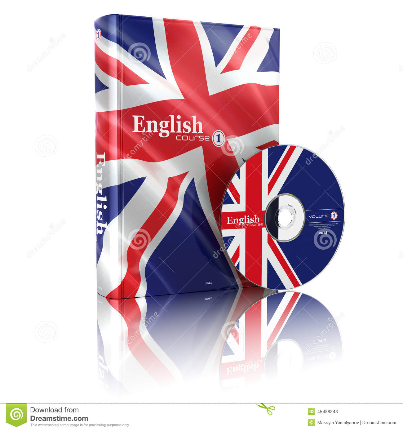 Book Cover Illustration Rates : English book in national flag cover and cd stock