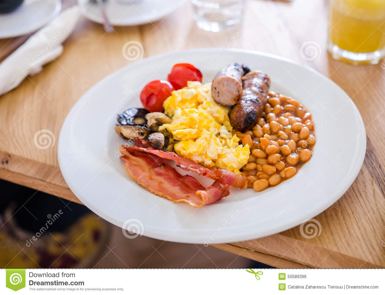 English Breakfast At The Restaurant Stock Photo - Image of tomatoes
