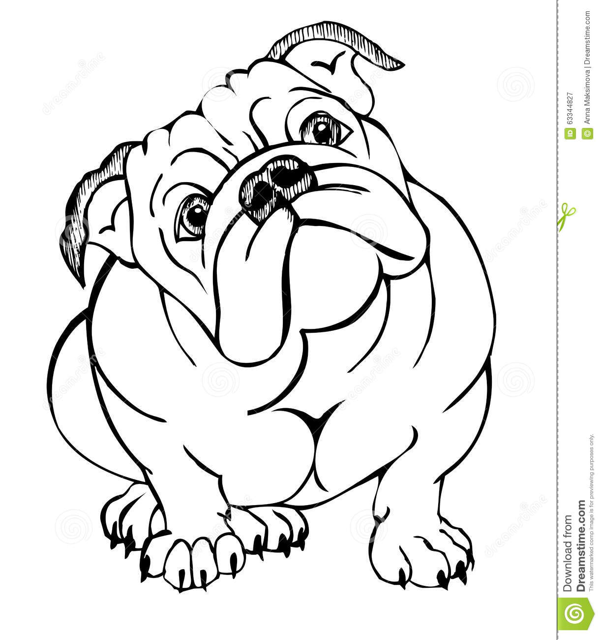 English bulldog sitting stock vector image 63344827 for Bulldogs coloring pages