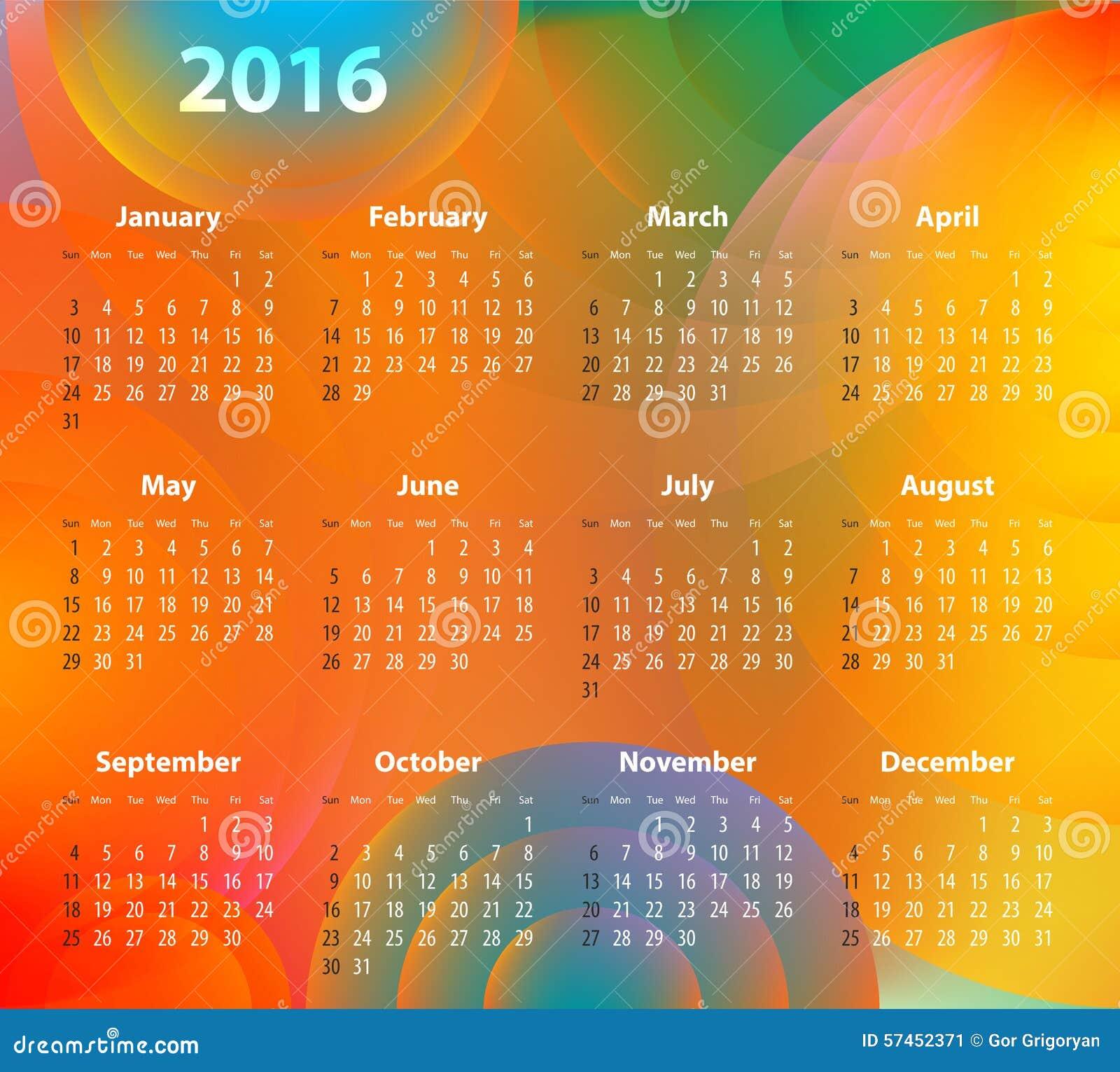 Calendar Background Vector : English calendar for on abstract circles stock