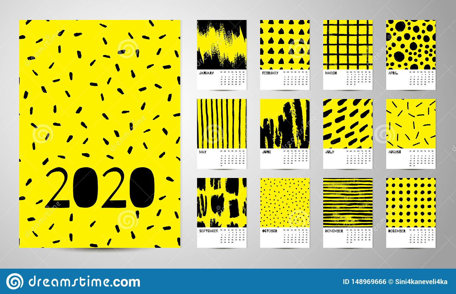 2020 English Calendar Abstract Vector