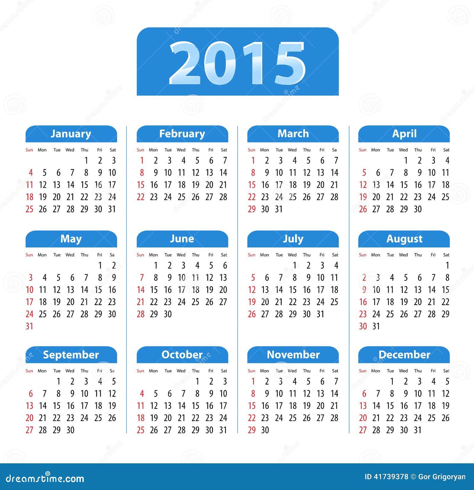 Blue glossy English calendar for 2015. Sundays first. Vector ...