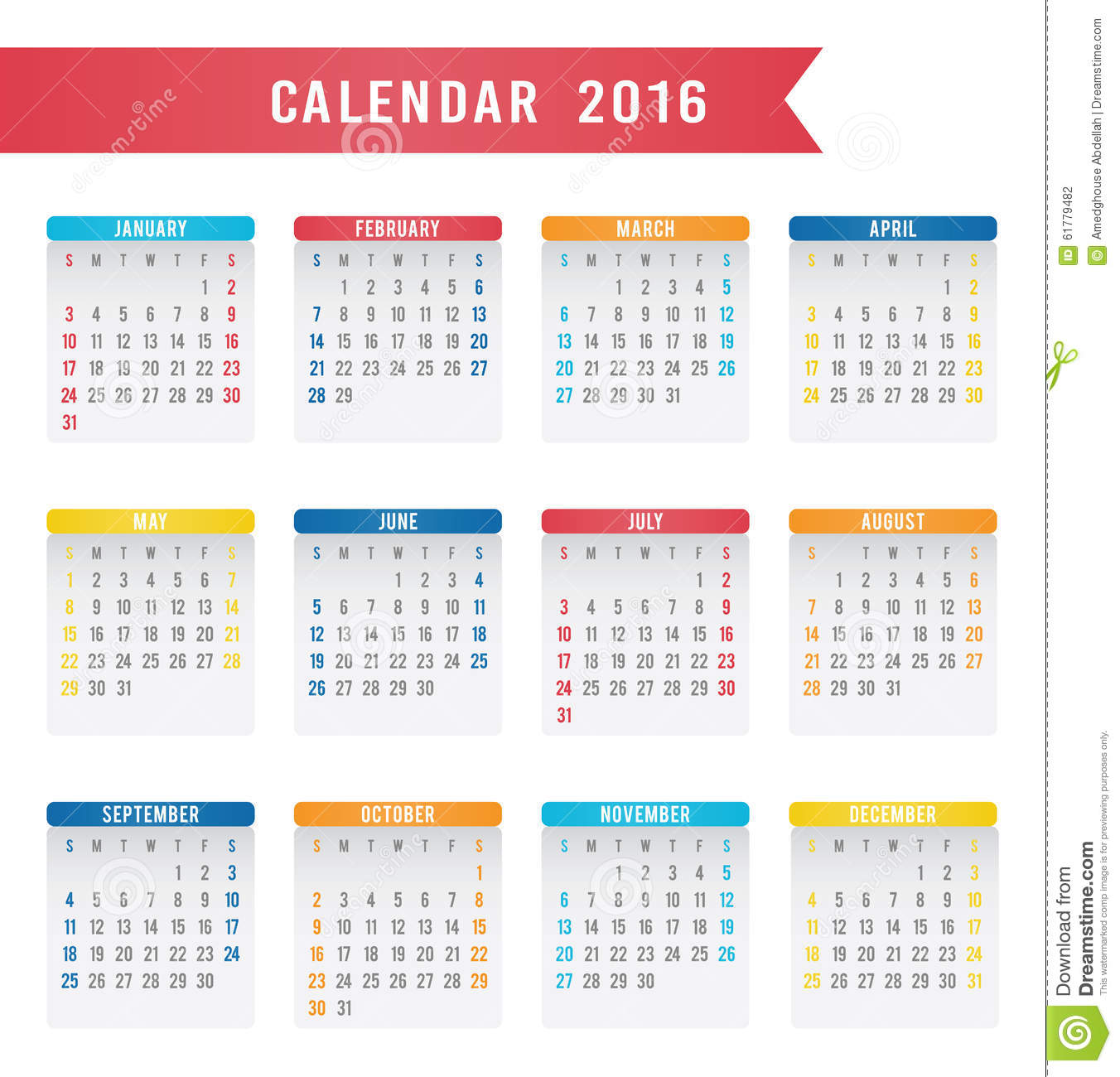 Illustration Calendar Design : English calendar design stock illustration image