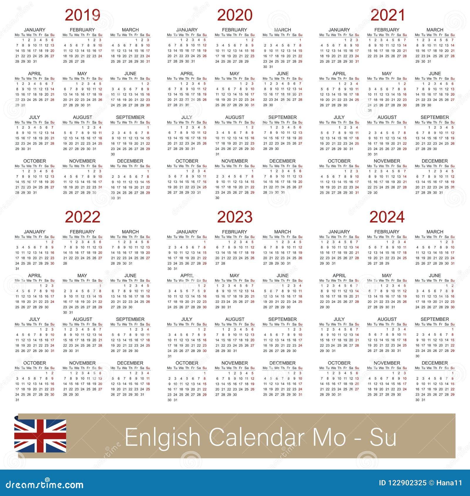 5 Year Calendar Starting 2019 English calendar 2019 2024 stock vector. Illustration of design