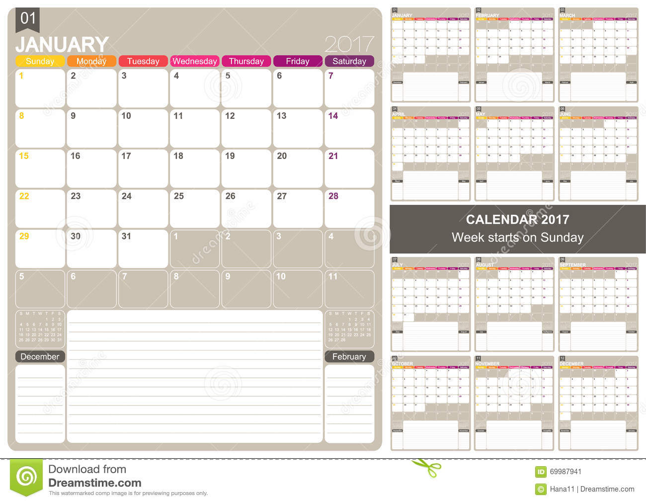 English printable monthly calendar template, set of 12 months January ...