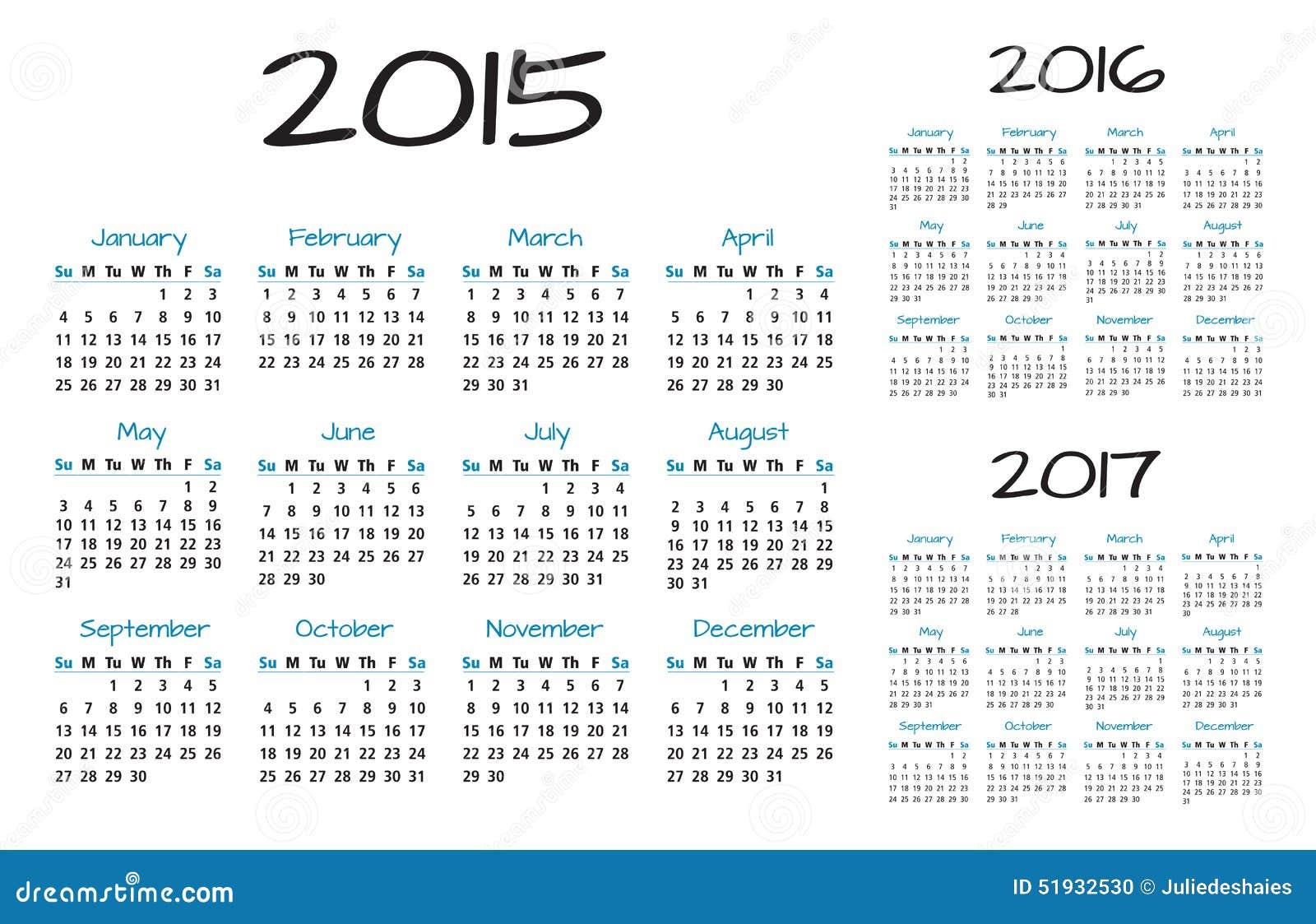 English Calendar 2015-2016-2017 Vector Stock Vector - Image: 51932530