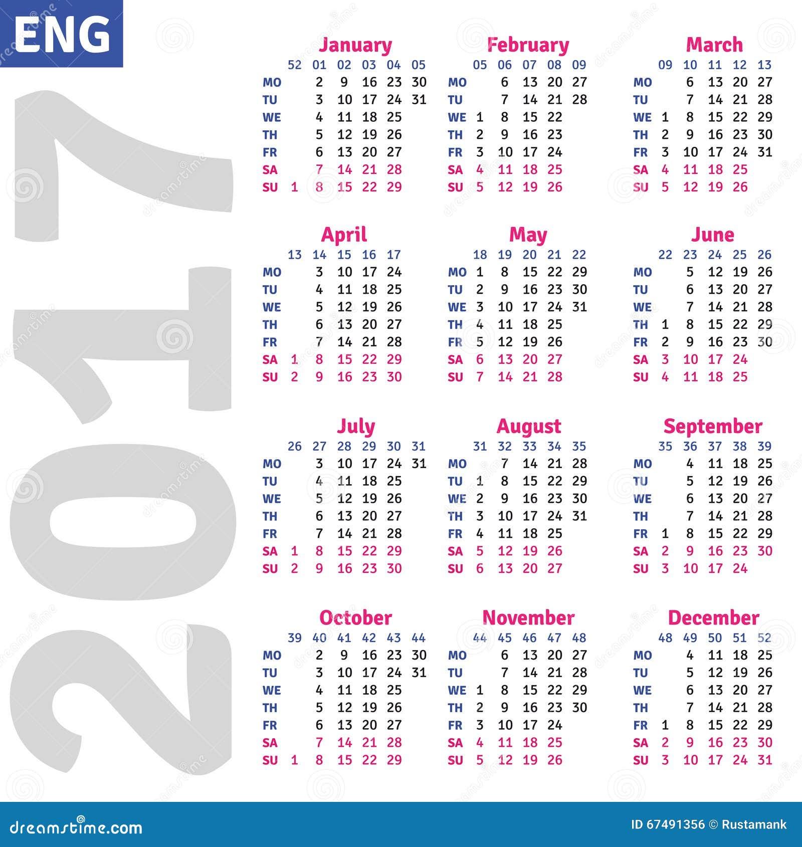 English calendar 2017, vertical calendar grid, vector.