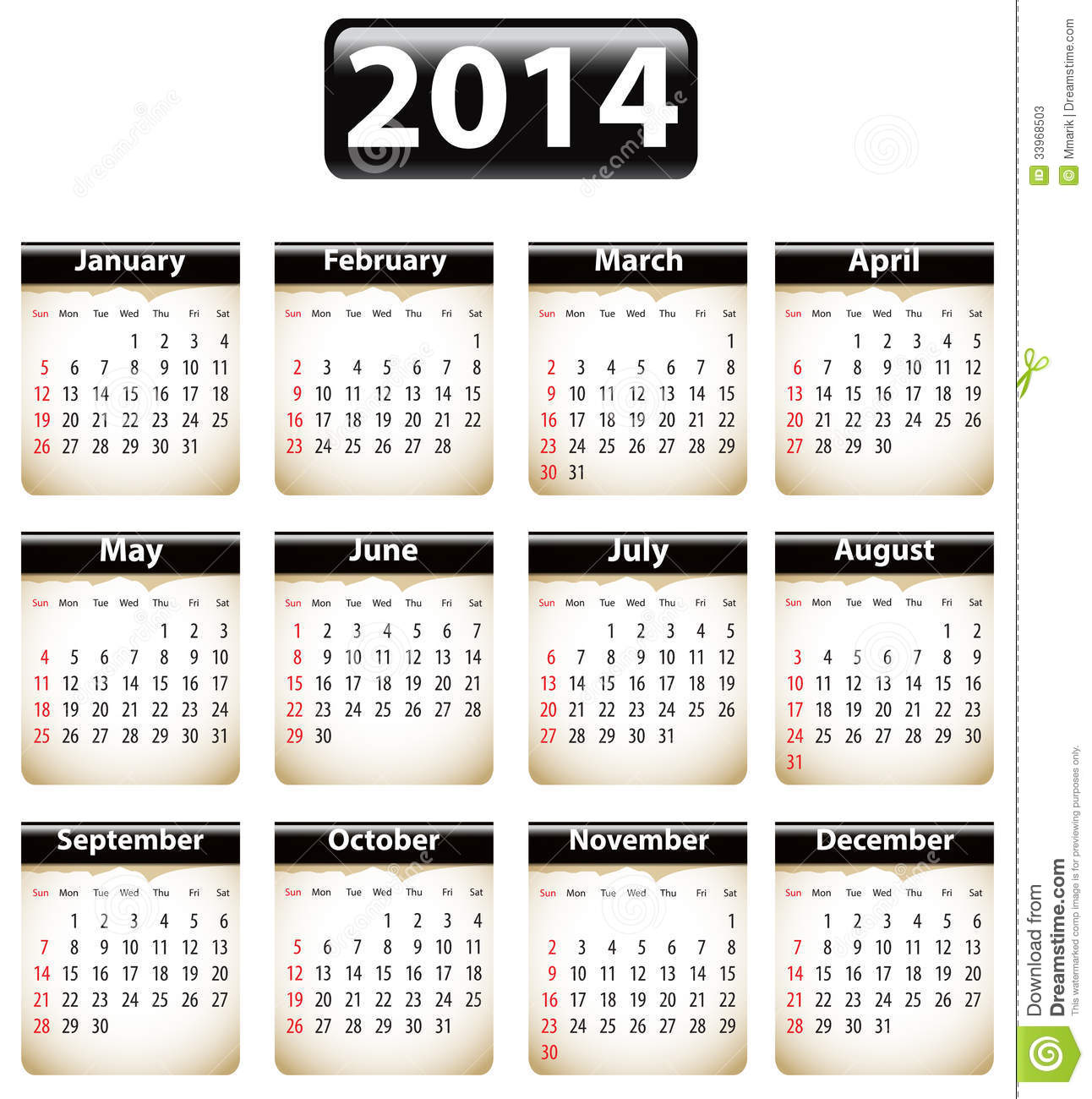 Calendar for 2014 year with torn papers. Vector illustration.