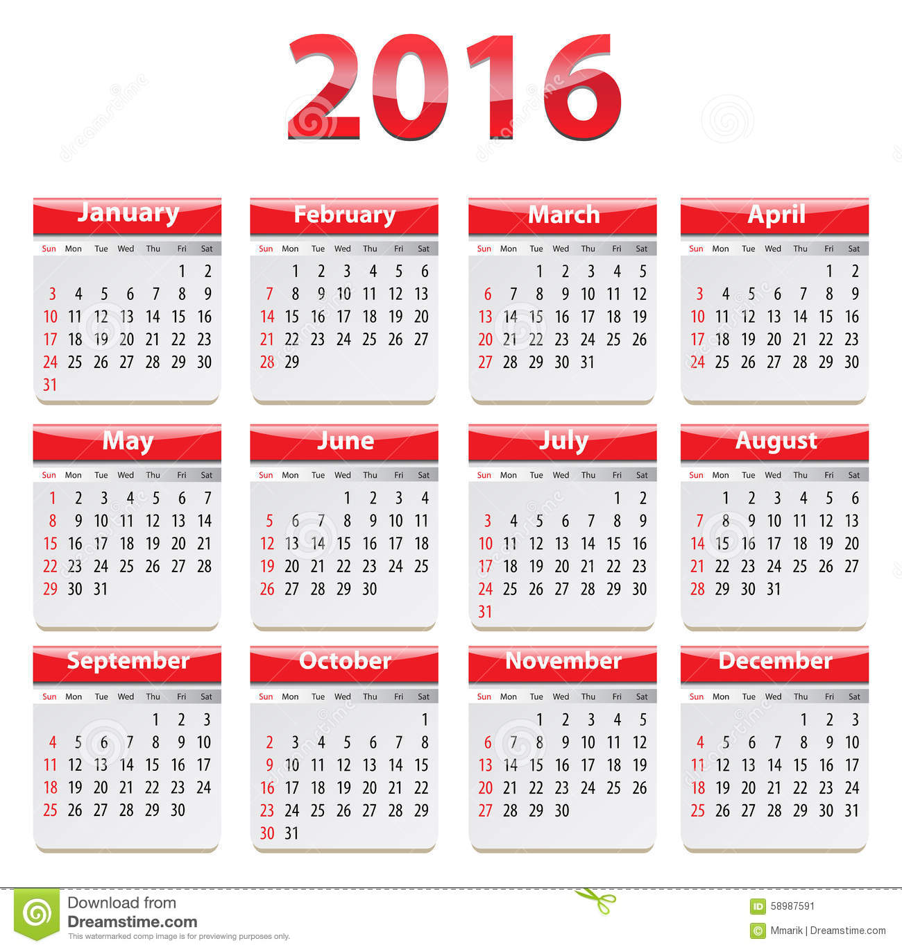 Calendar for 2016 year in English. Vector illustration