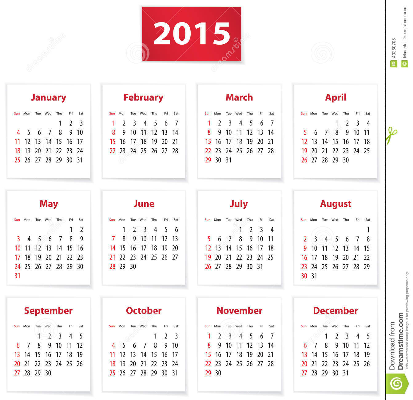 Calendar for 2015 year on white papers in English. Vector illustration