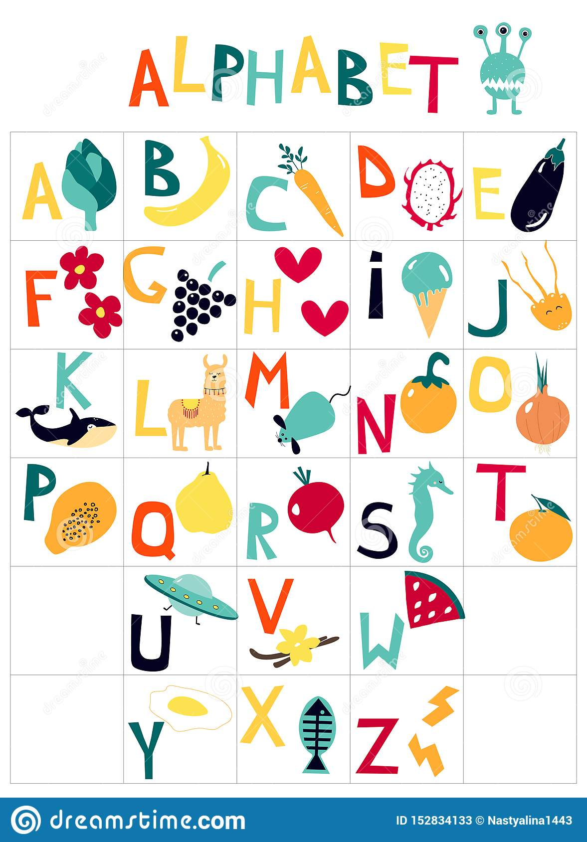English children`s alphabet with cartoon pictures on the theme of fruit, vegetables, animals.