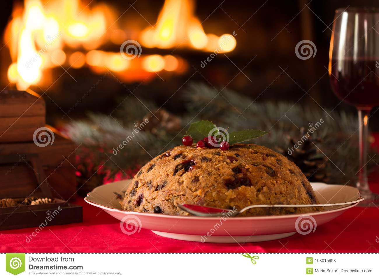 Christmas Pudding On Fire.English Christmas Pudding With Spoon English Christmas