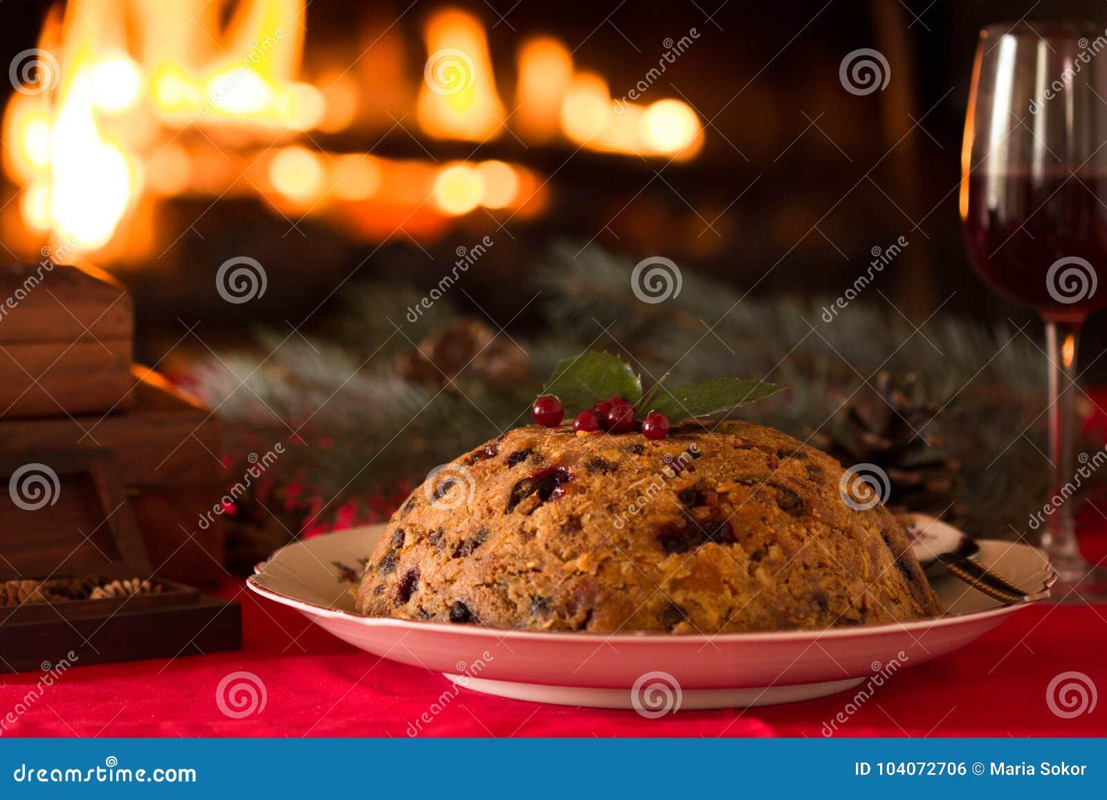 English Christmas Pudding With Spoon English Christmas Pudding With