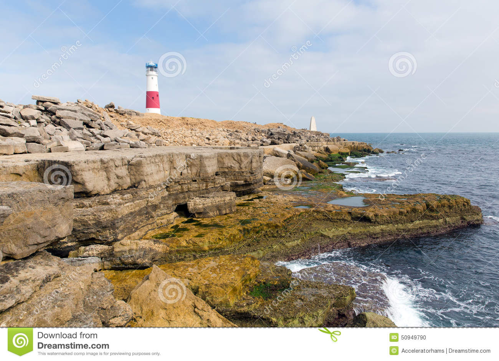 English Coast Lighthouse Portland Bill Isle Of Portland Dorset England UK Stock Photo - Image of ...