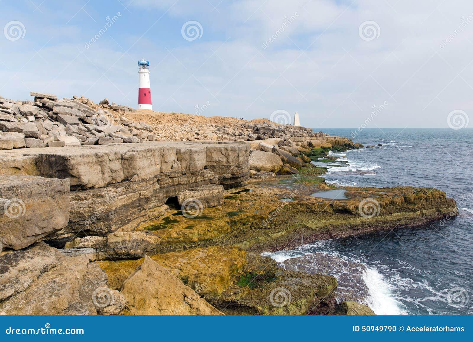 English coast lighthouse Portland Bill Isle of Portland Dorset England ...