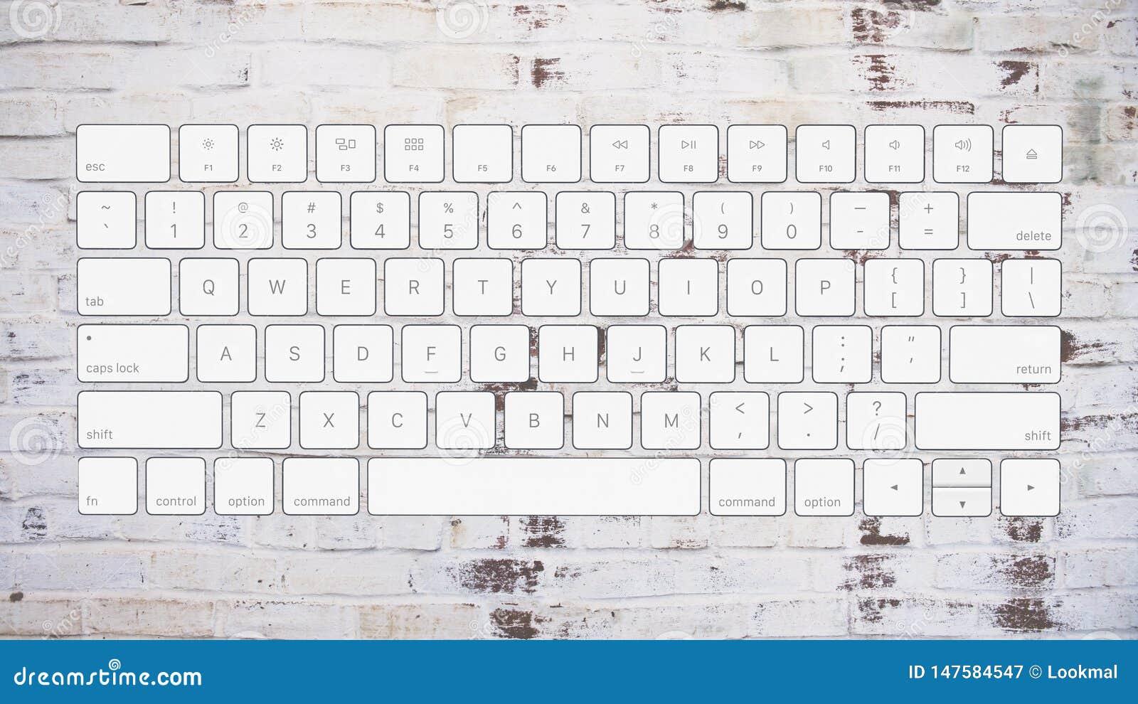 English Computer Keyboard Layout On Brick Background Stock ...