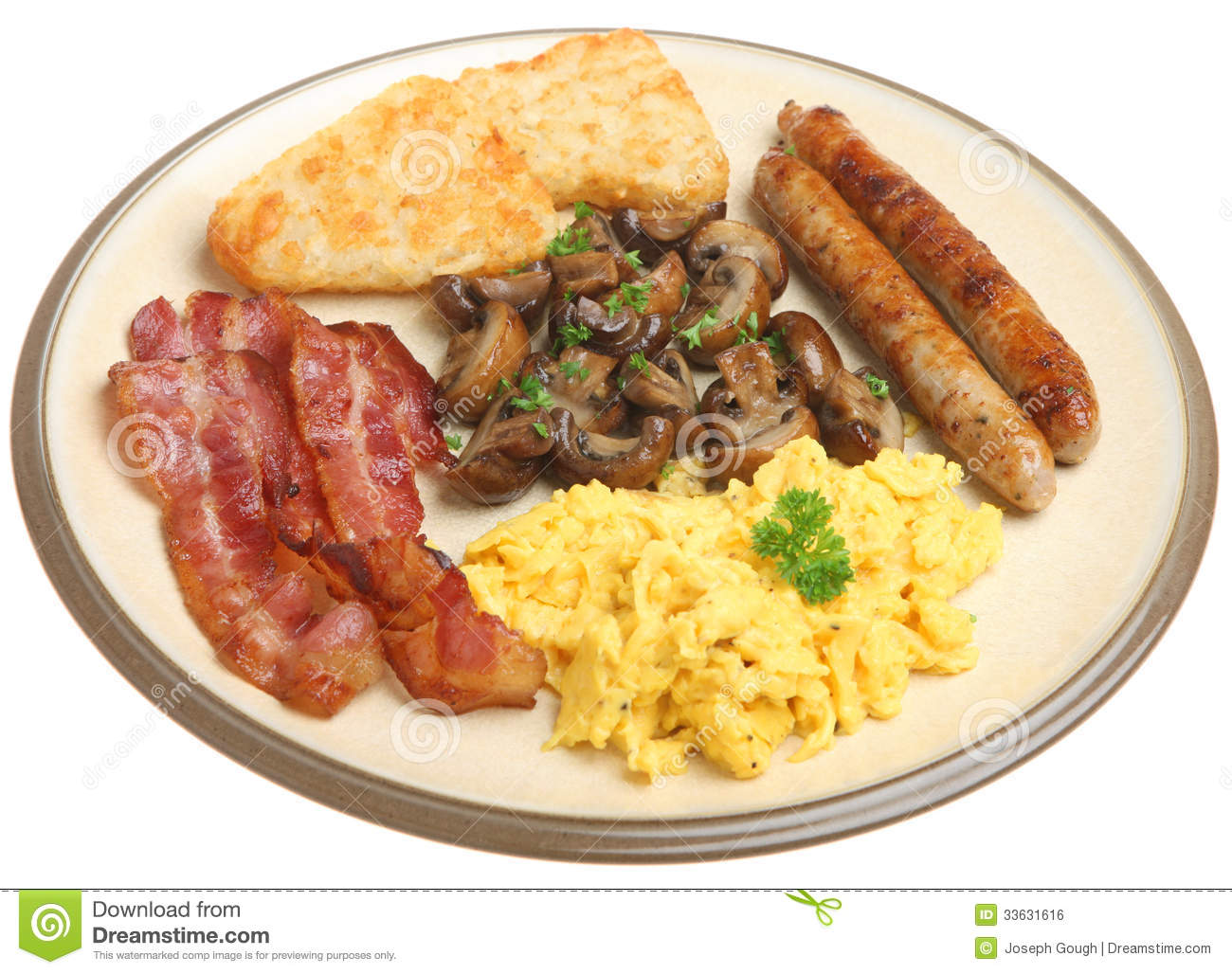 English Cooked Breakfast Isolated On White Royalty Free