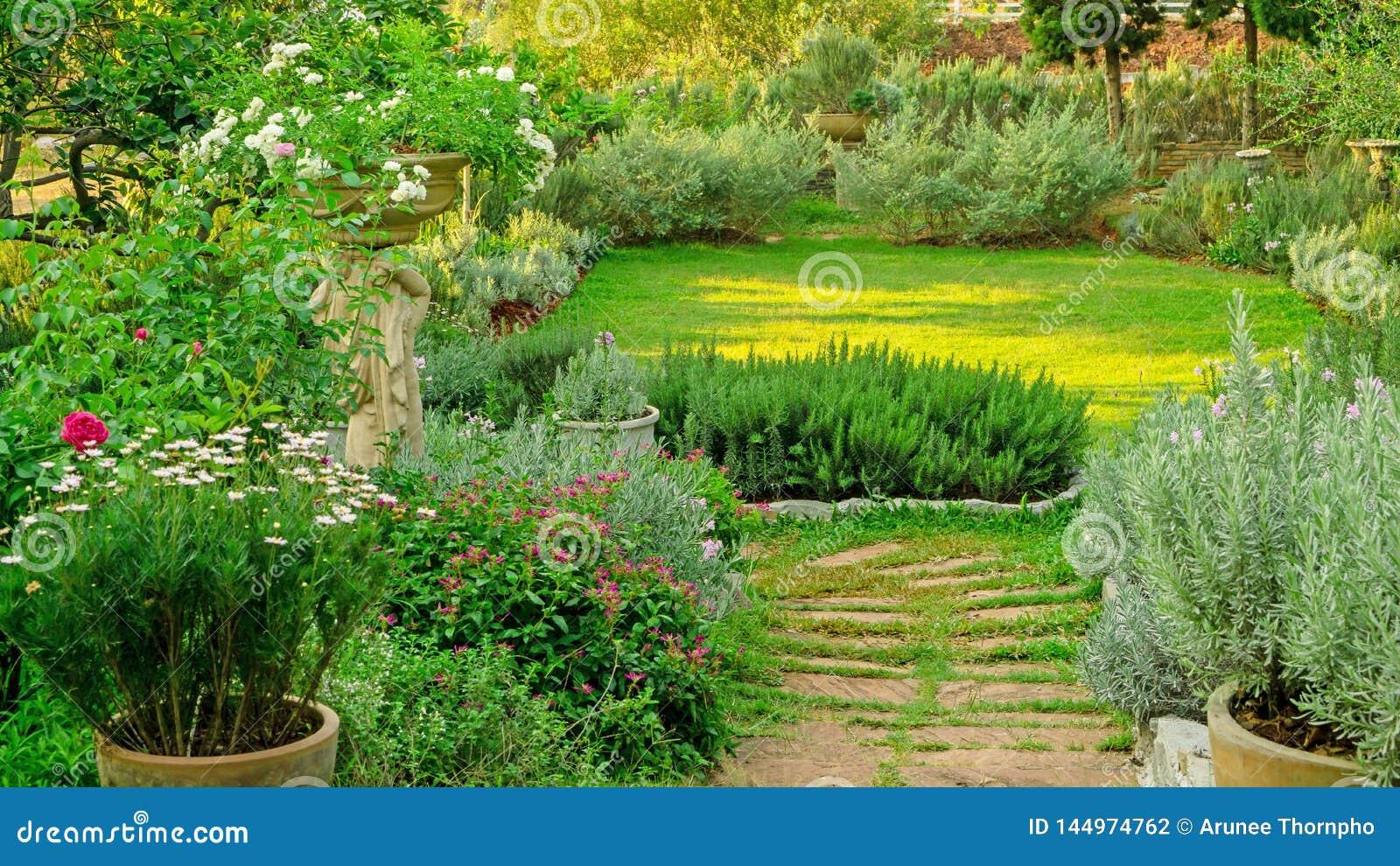 Amazing English Cottage Garden On Green Grass Lawn Backyard Infomal Download Free Architecture Designs Intelgarnamadebymaigaardcom
