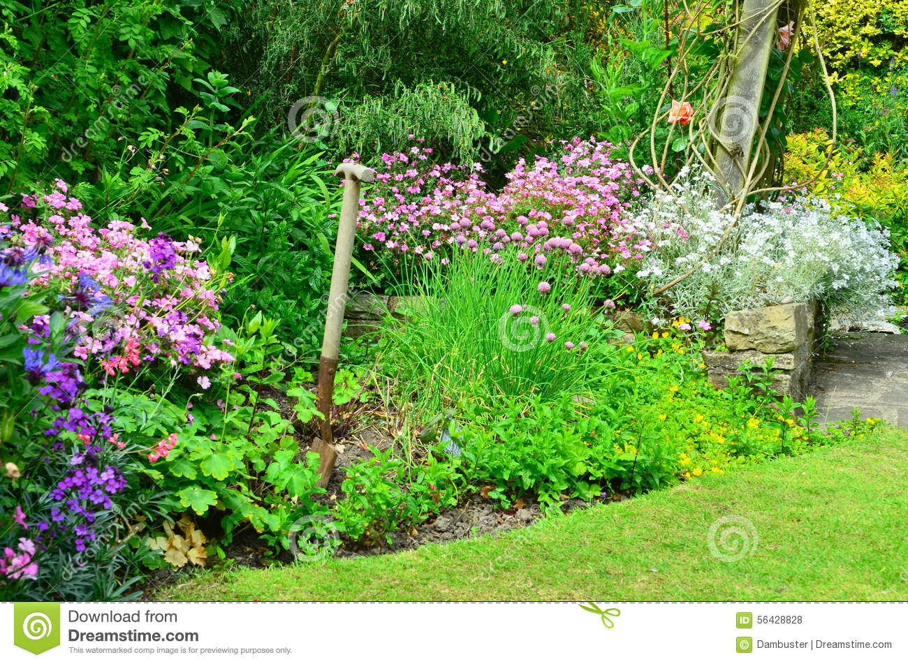 english country garden stock photo image 56428828