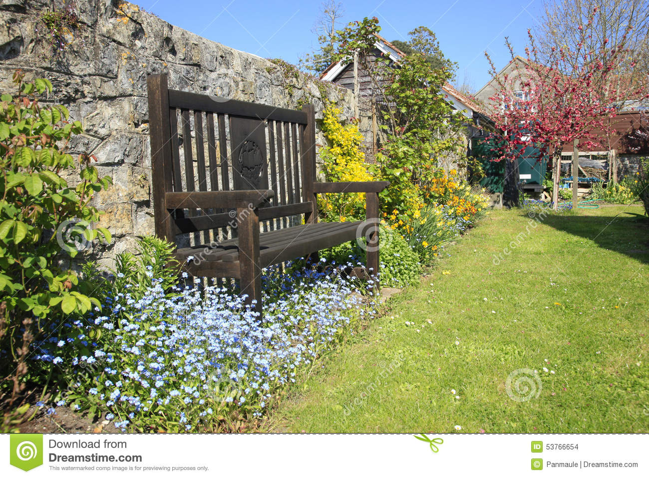English Country Garden Seat Stock Photo Image 53766654