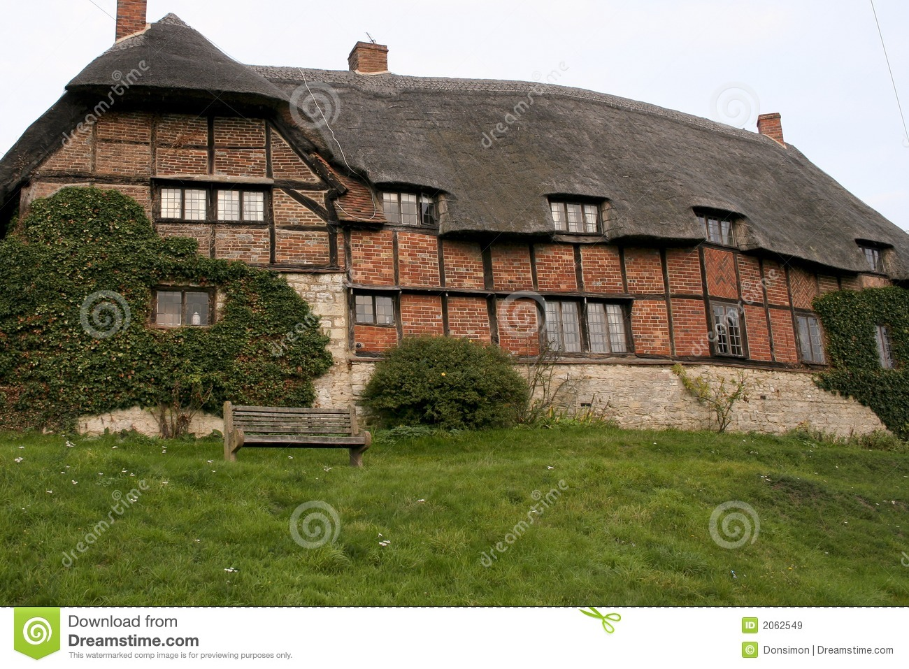 English Country House Thatched Roof Stock Image Image