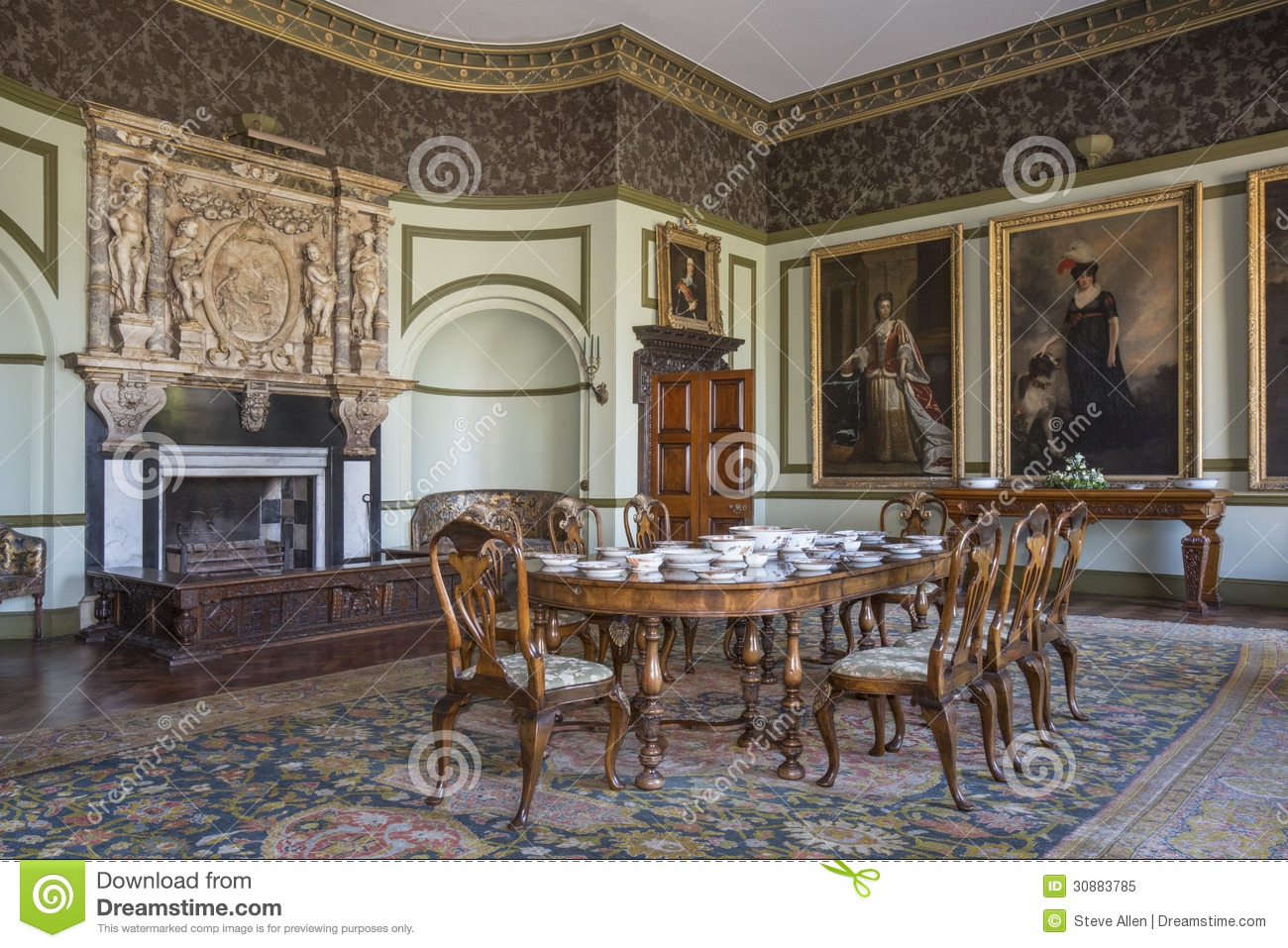 Interior Of A Large Country Manor House Or Stately Home Yorkshire In