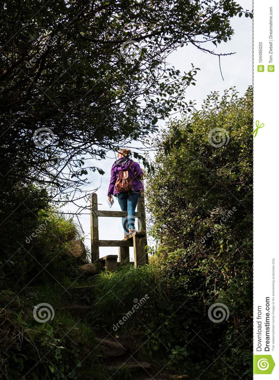 An English Country Stile With Woman Stock Photo Image Of Gate