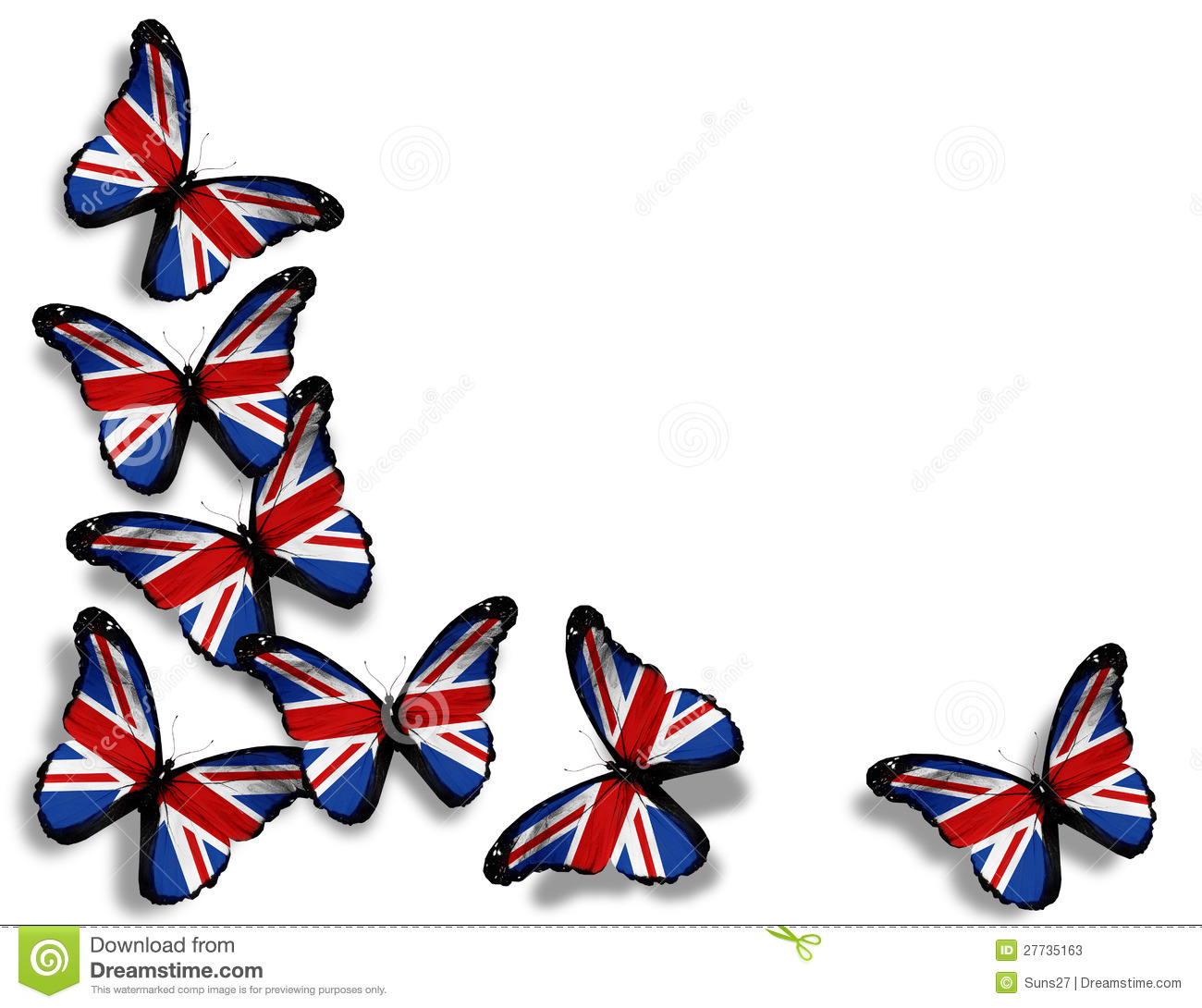 english flag butterflies on white stock photos image 27735163 butterflies clip art free butterflies clipart small