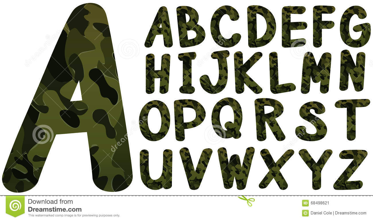 English Font Design With Military Theme Stock Vector