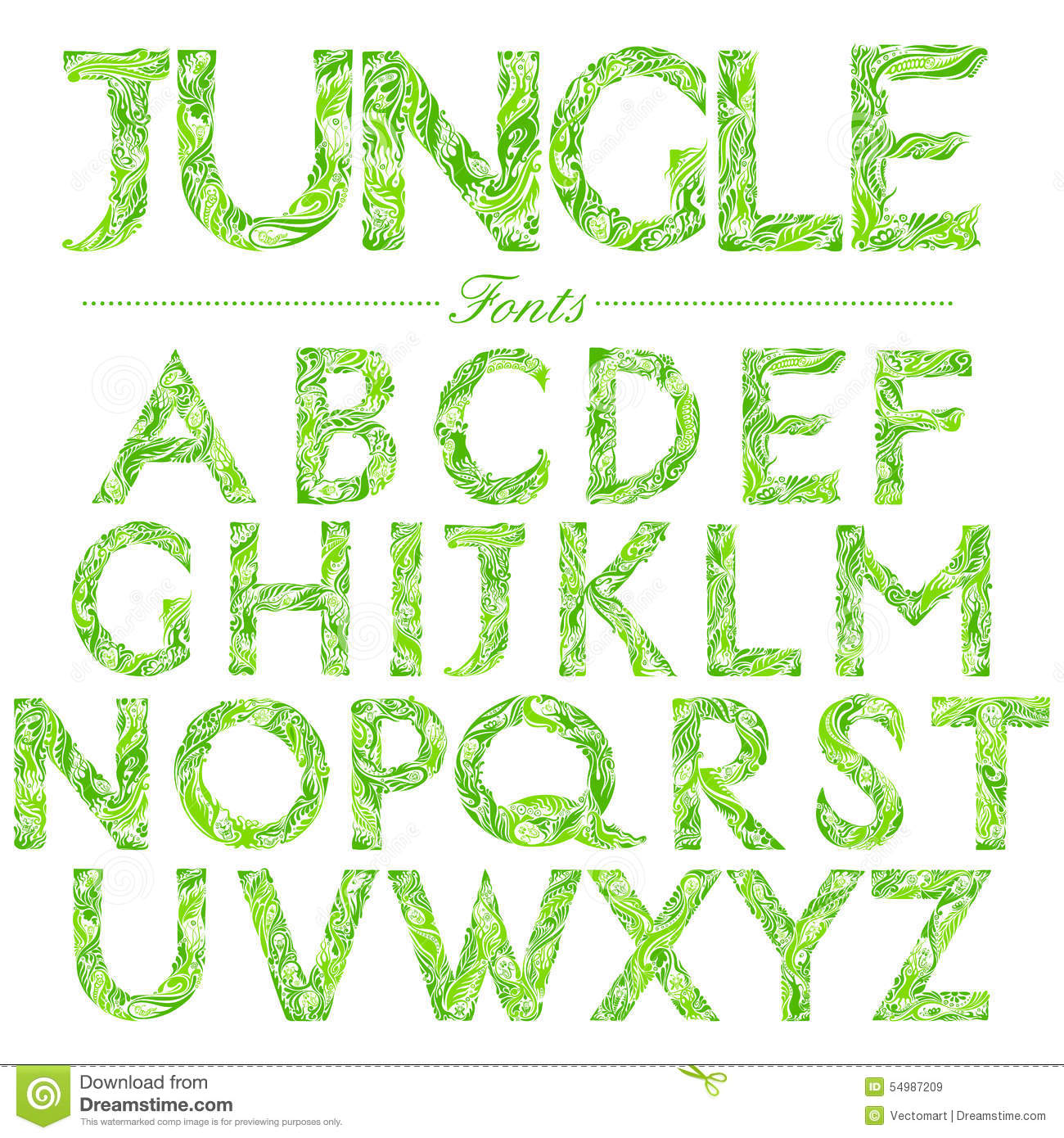 font in jungle style swirl stock vector image