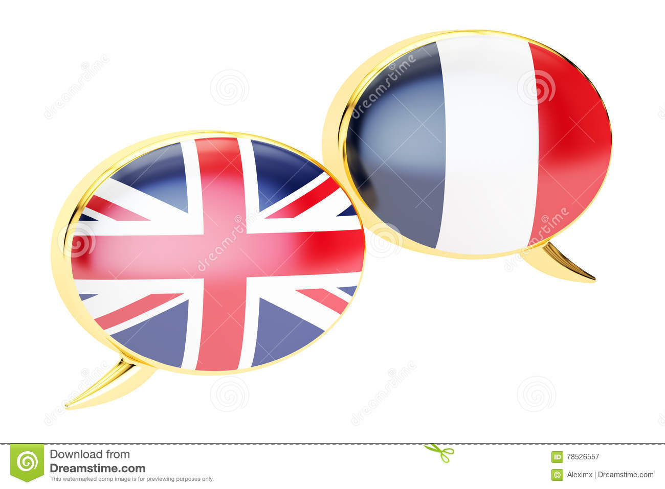 English-French Conversation Concept, 3D Rendering Stock Illustration