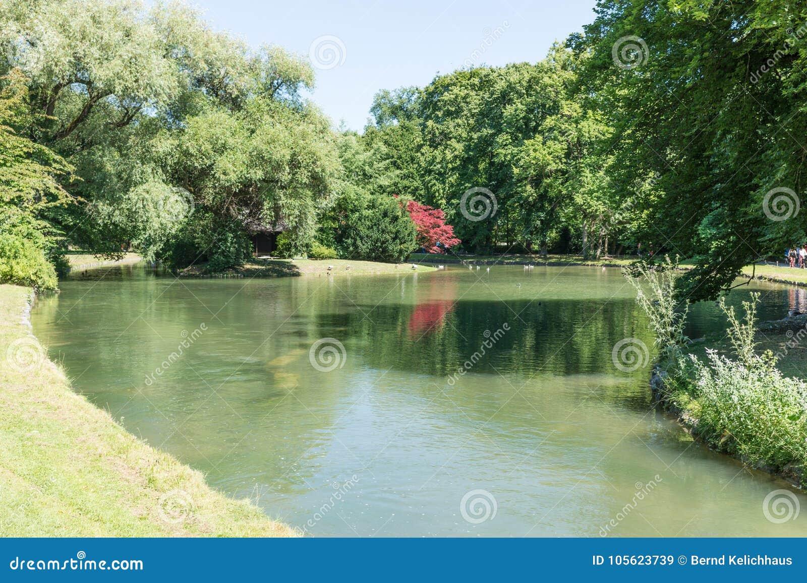 The English Garden Englischer Garten With River Large Public Park