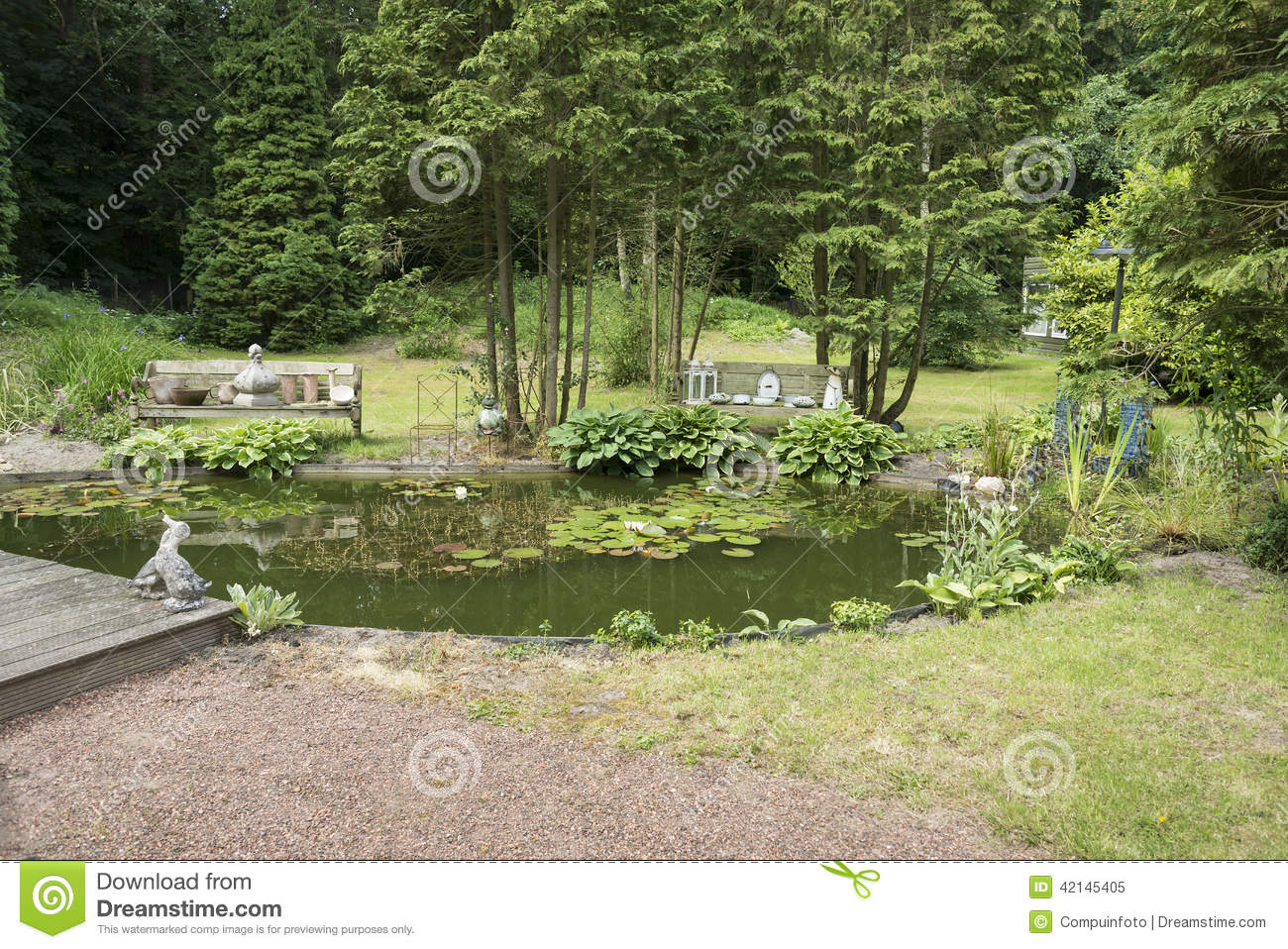 English Garden With Green Trees Plans And Pond Stock Image Image
