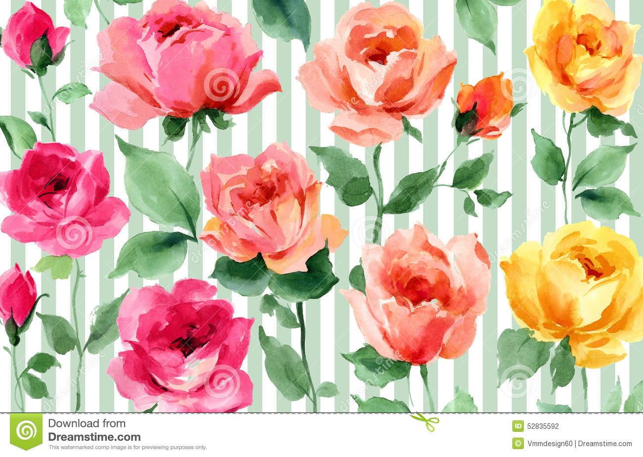 English rose garden wallpaper - Royalty Free Illustration Download English Garden Roses Colorful Watercolor Floral Seamless Wallpaper