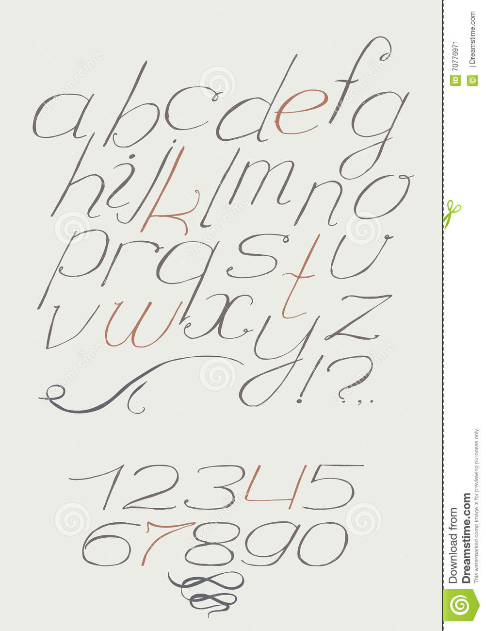 English Hand Drawn Italic Type Script From A To Z With Digits 0 9 Calligraphy Made Nib Beautiful Elegant Alphabet Painted In Graceful Style