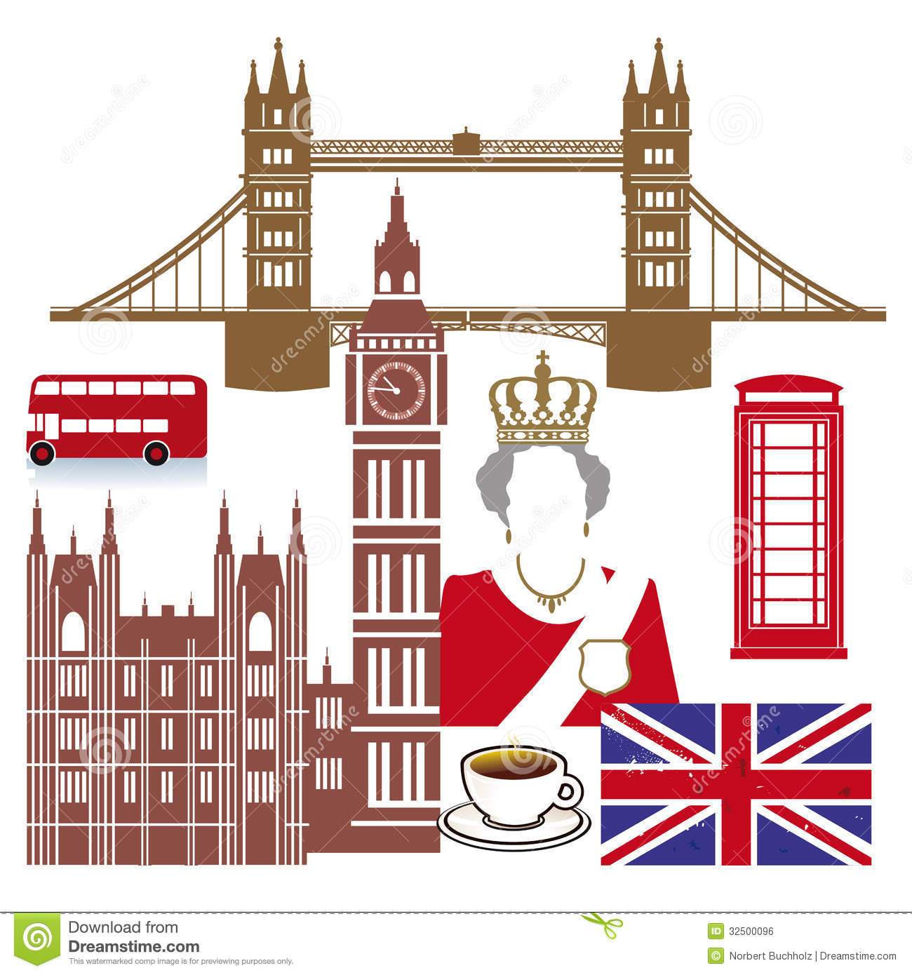 ... Queen, double decker bus, Big Ben, red phone booth and British flag